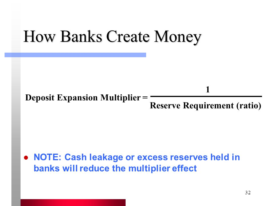 32 How Banks Create Money NOTE: Cash leakage or excess reserves held in banks will reduce the multiplier effect Deposit Expansion Multiplier = 1 Reserve Requirement (ratio)