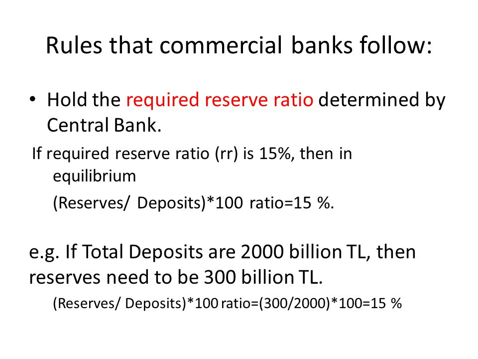 Rules that commercial banks follow: Hold the required reserve ratio determined by Central Bank.