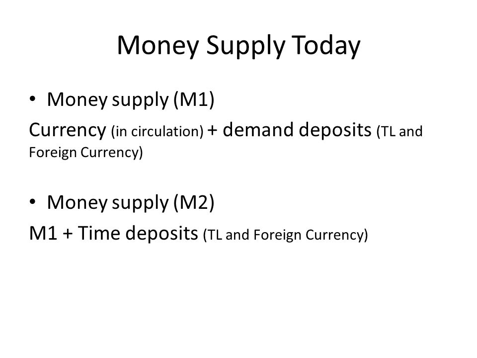 Money Supply Today Money supply (M1) Currency (in circulation) + demand deposits (TL and Foreign Currency) Money supply (M2) M1 + Time deposits (TL and Foreign Currency)