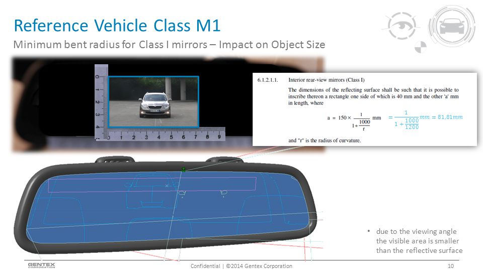 Reference Vehicle Class M1 Confidential | ©2014 Gentex Corporation Minimum bent radius for Class I mirrors – Impact on Object Size 10 due to the viewi
