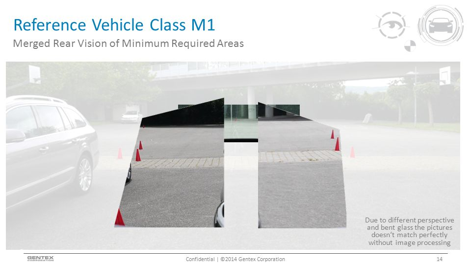Reference Vehicle Class M1 Confidential | ©2014 Gentex Corporation Merged Rear Vision of Minimum Required Areas 14 Due to different perspective and bent glass the pictures doesn't match perfectly without image processing
