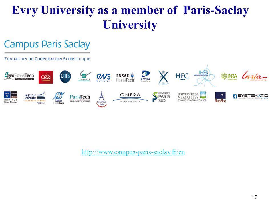10 Evry University as a member of Paris-Saclay University http://www.campus-paris-saclay.fr/en