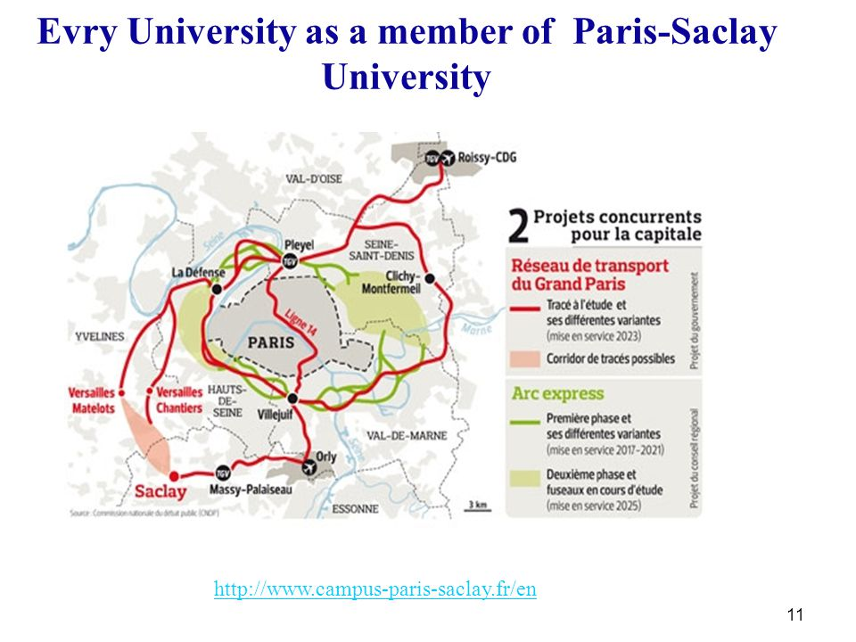 11 Evry University as a member of Paris-Saclay University http://www.campus-paris-saclay.fr/en