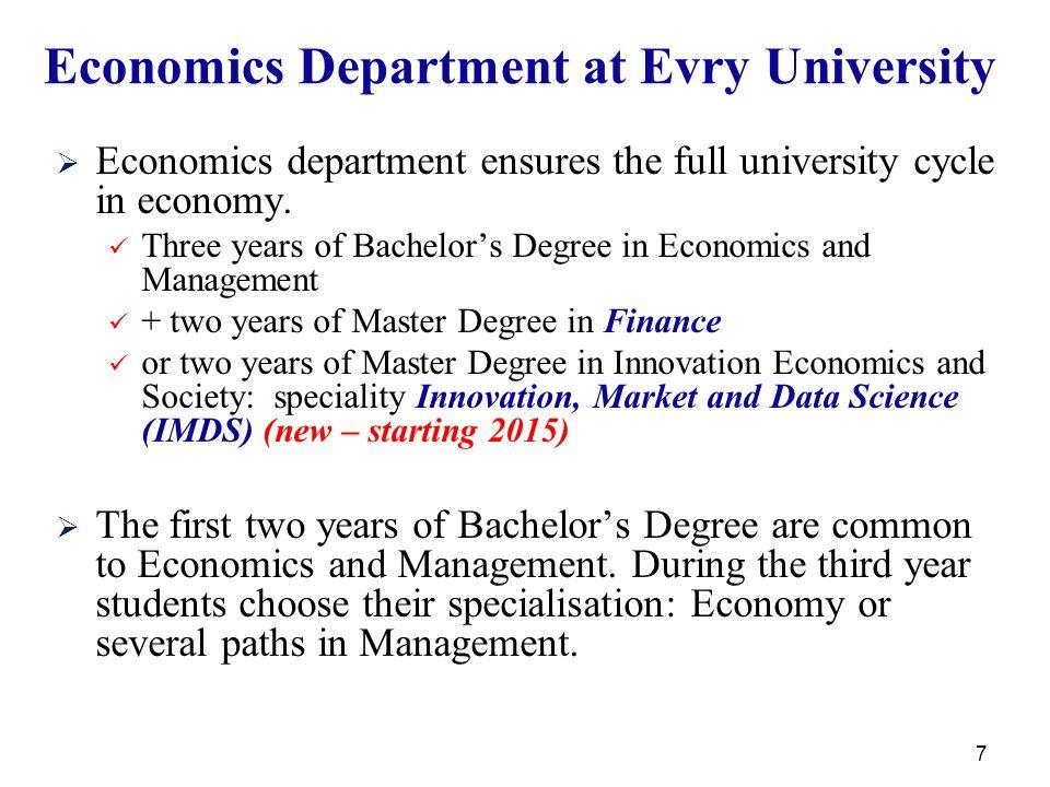 7 Economics Department at Evry University   Economics department ensures the full university cycle in economy.