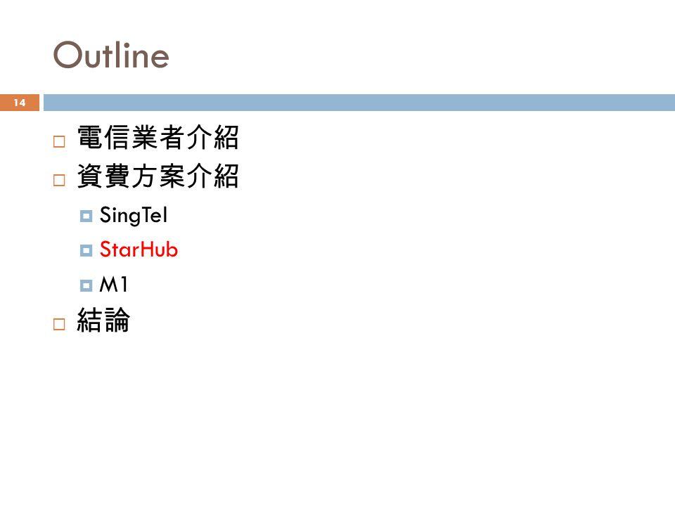Outline  電信業者介紹  資費方案介紹  SingTel  StarHub  M1  結論 14