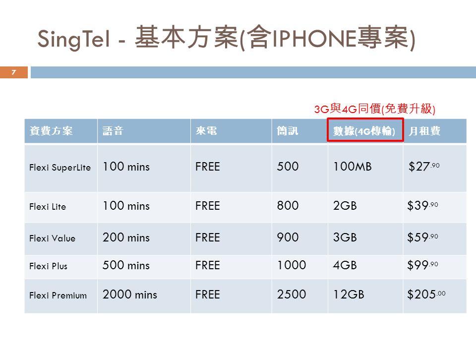 SingTel - 基本方案 ( 含 IPHONE 專案 ) 3G 與 4G 同價 ( 免費升級 ) 7
