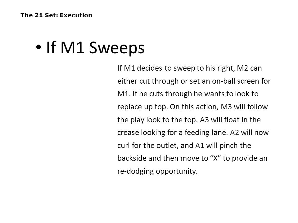 The 21 Set: Execution If M1 decides to sweep to his right, M2 can either cut through or set an on-ball screen for M1. If he cuts through he wants to l