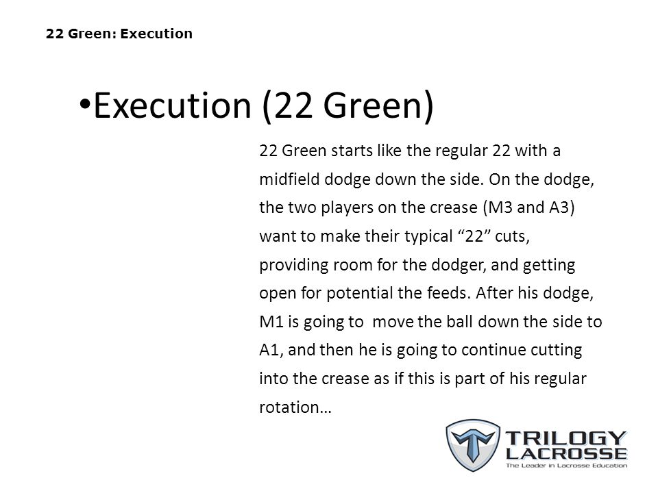 13 Green: Execution (M1 Dodging) A1 A2 A3 M3 M2 M1