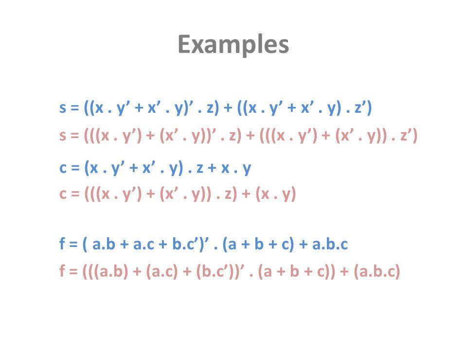 Examples s = (((x. y') + (x'. y))'. z) + (((x. y') + (x'. y)). z') c = (x. y' + x'. y). z + x. y f = ( a.b + a.c + b.c')'. (a + b + c) + a.b.c f = (((
