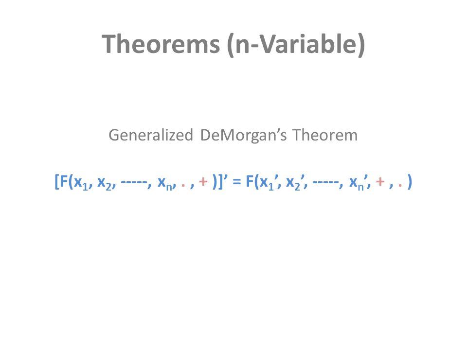Theorems (n-Variable) [F(x 1, x 2, -----, x n,., + )]' = F(x 1 ', x 2 ', -----, x n ', +,. ) Generalized DeMorgan's Theorem