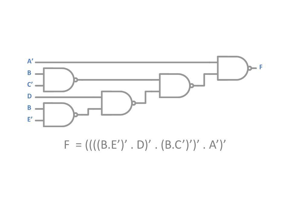 F = ((((B.E')'. D)'. (B.C')')'. A')'