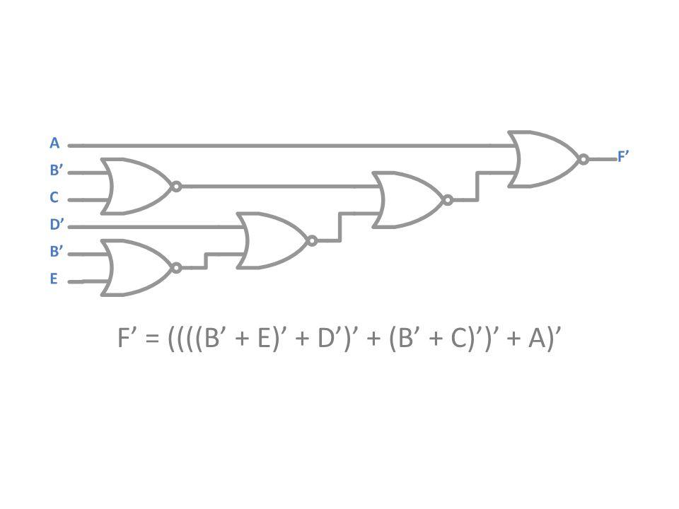 F' = ((((B' + E)' + D')' + (B' + C)')' + A)'