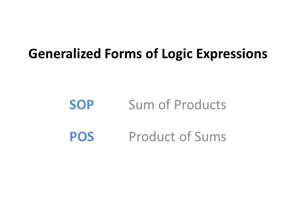Generalized Forms of Logic Expressions SOP Sum of Products POS Product of Sums