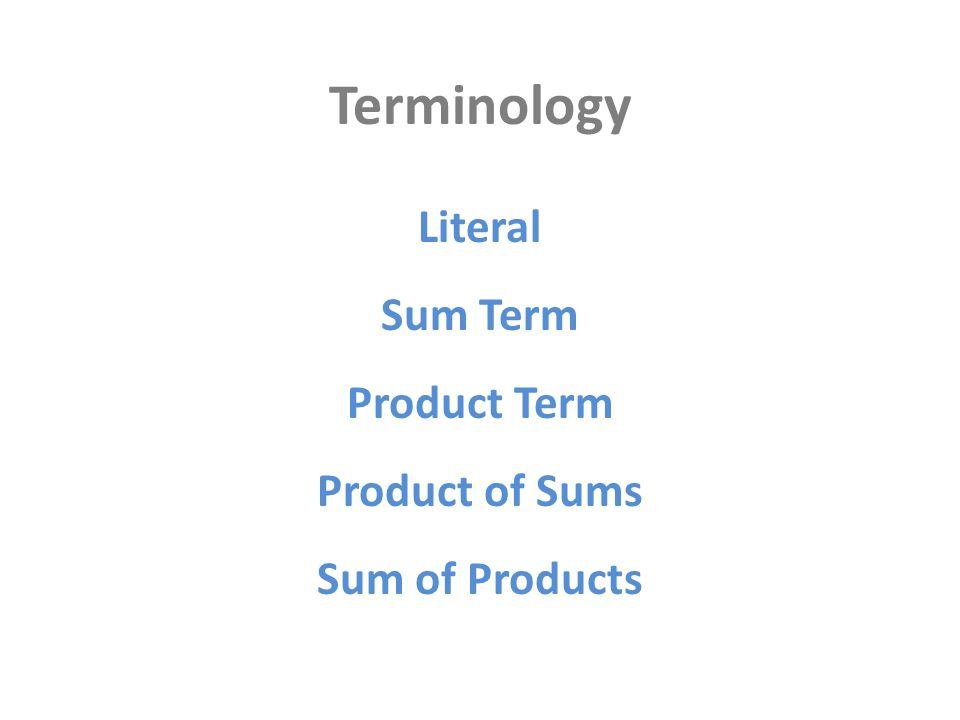 Terminology Literal Product Term Sum Term Product of Sums Sum of Products