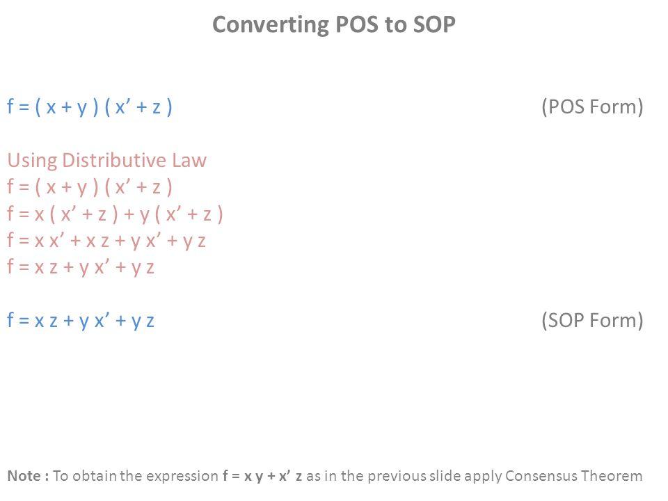 Converting POS to SOP f = ( x + y ) ( x' + z )(POS Form) Using Distributive Law f = ( x + y ) ( x' + z ) f = x ( x' + z ) + y ( x' + z ) f = x x' + x