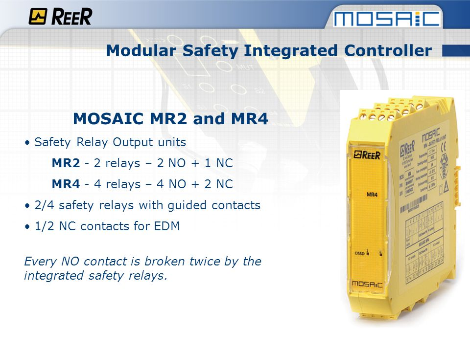 Modular Safety Integrated Controller MOSAIC MB Field-bus expansion Expansion units for connection to the most common industrial Field-bus systems for diagnostic data communication.