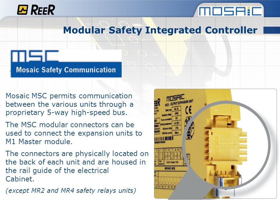 MODULES DIMENSIONS Each single modules measures: 22,5 x 99 x 114.5 mm Modular Safety Integrated Controller Removable terminal blocks, screw contacts