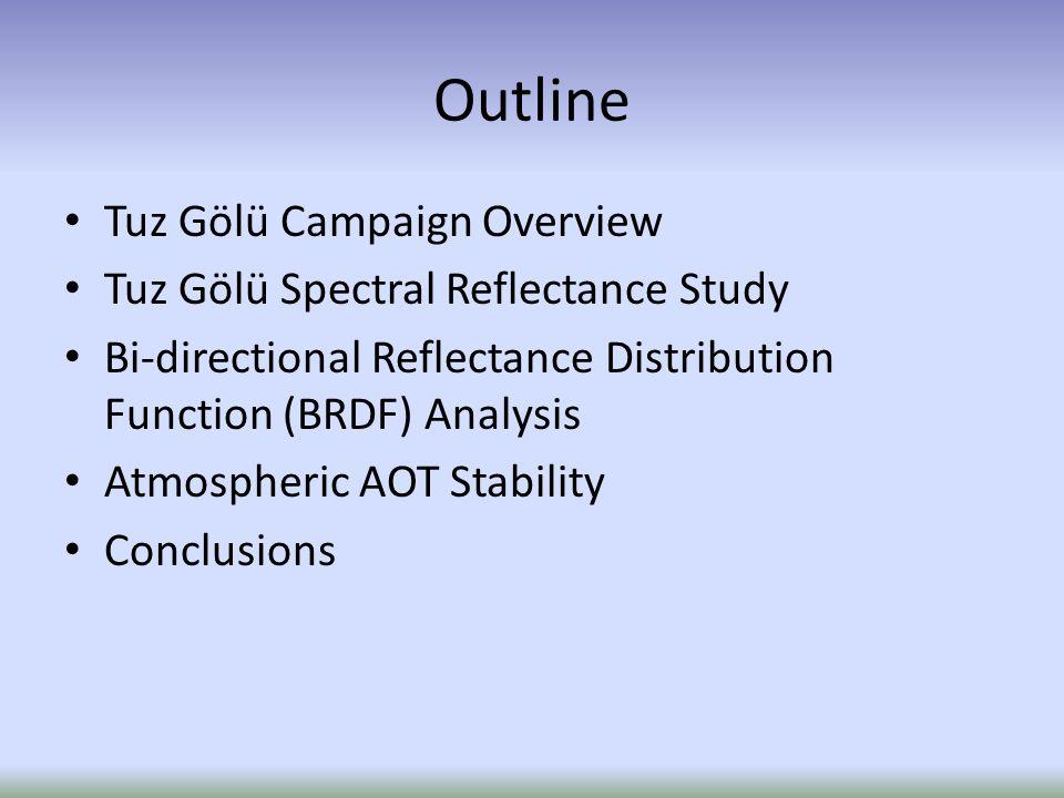 Outline Tuz Gölü Campaign Overview Tuz Gölü Spectral Reflectance Study Bi-directional Reflectance Distribution Function (BRDF) Analysis Atmospheric AOT Stability Conclusions