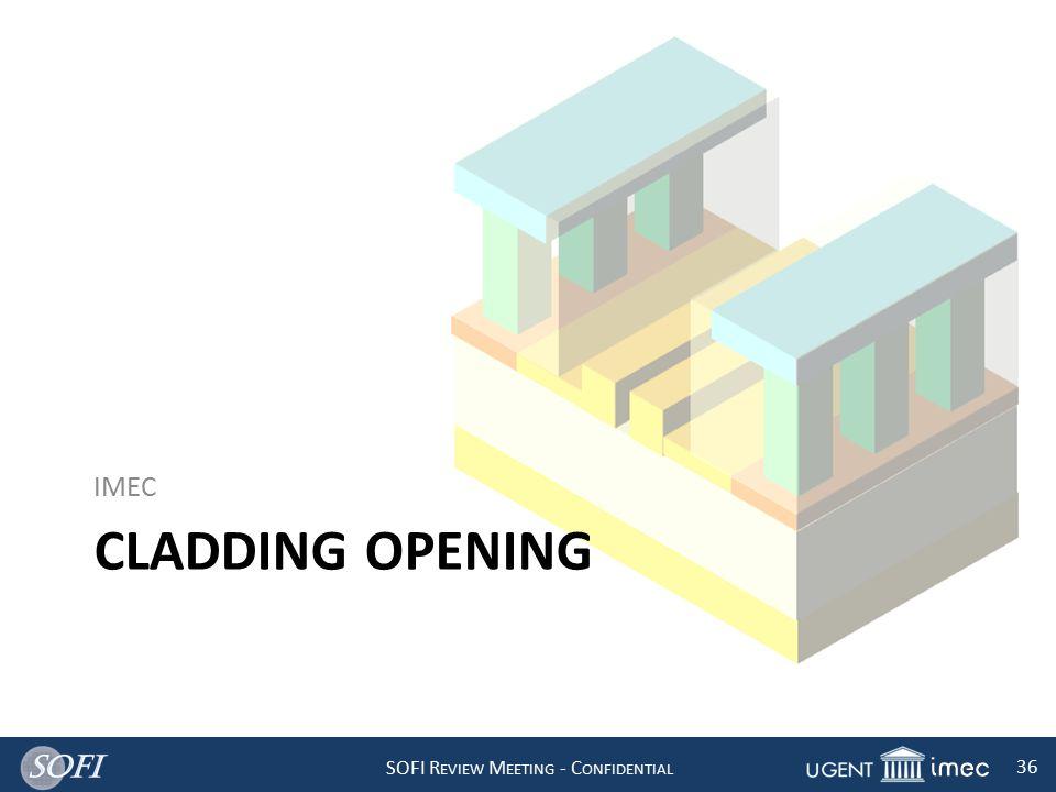 SOFI R EVIEW M EETING - C ONFIDENTIAL 36 CLADDING OPENING IMEC
