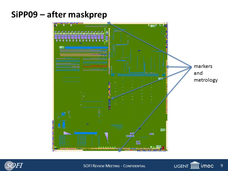SOFI R EVIEW M EETING - C ONFIDENTIAL 9 SiPP09 – after maskprep markers and metrology