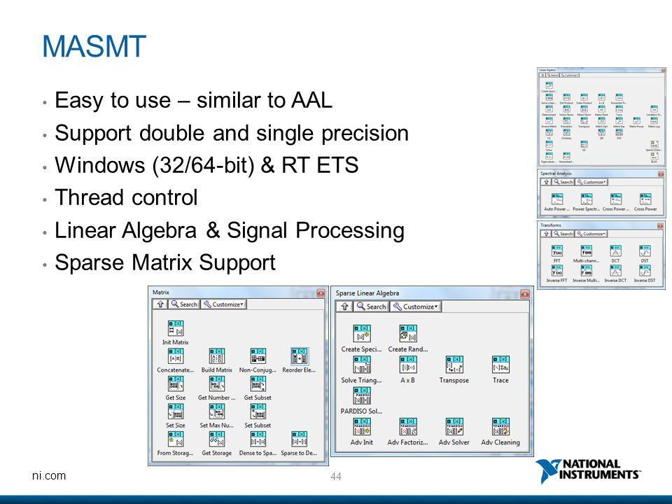 44 ni.com MASMT Easy to use – similar to AAL Support double and single precision Windows (32/64-bit) & RT ETS Thread control Linear Algebra & Signal P