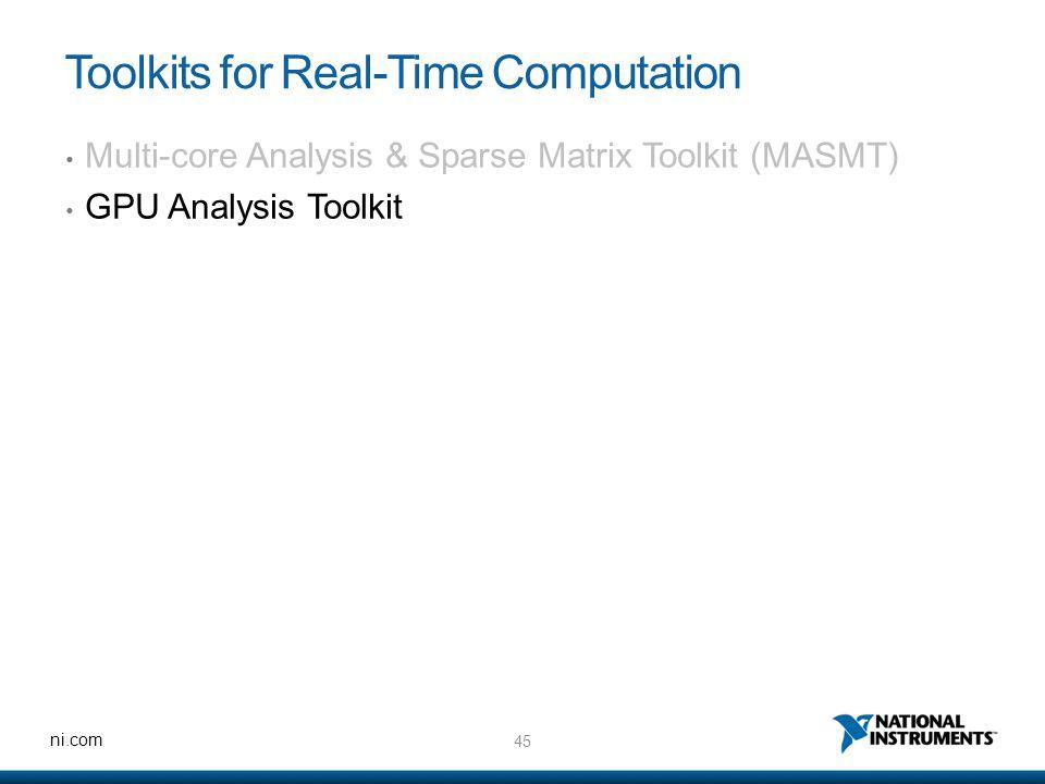 45 ni.com Toolkits for Real-Time Computation Multi-core Analysis & Sparse Matrix Toolkit (MASMT) GPU Analysis Toolkit
