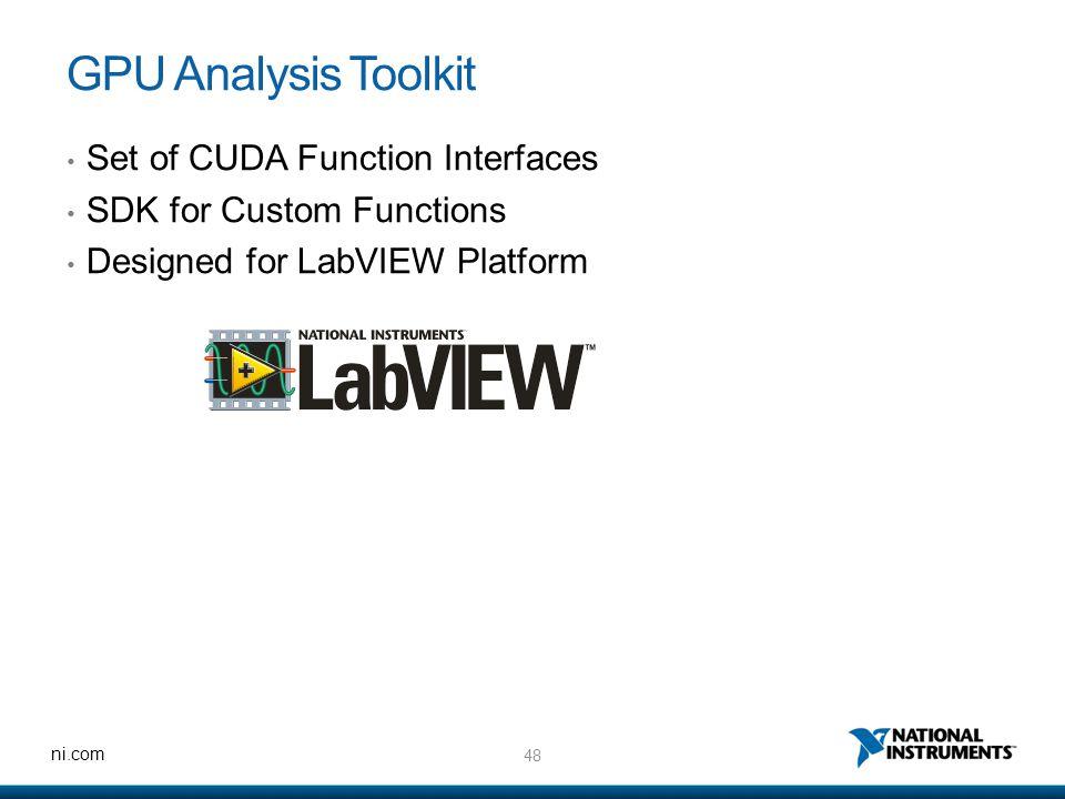 48 ni.com GPU Analysis Toolkit Set of CUDA Function Interfaces SDK for Custom Functions Designed for LabVIEW Platform
