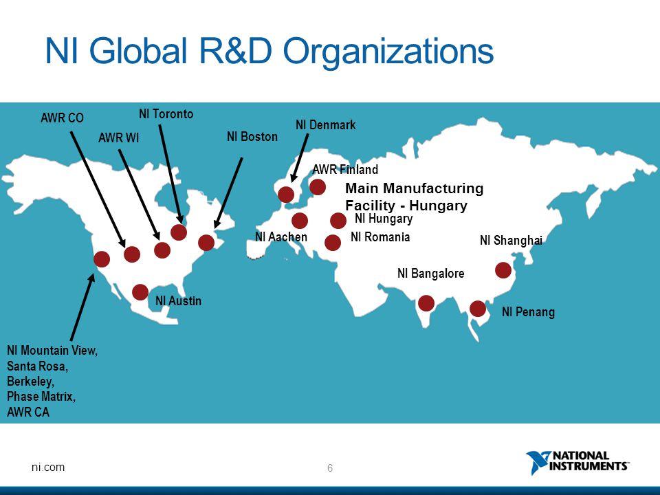6 ni.com NI Global R&D Organizations NI Mountain View, Santa Rosa, Berkeley, Phase Matrix, AWR CA NI Toronto NI Austin NI Boston NI Aachen NI Romania