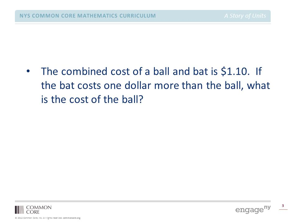 © 2012 Common Core, Inc. All rights reserved. commoncore.org NYS COMMON CORE MATHEMATICS CURRICULUM A Story of Units 3 The combined cost of a ball and