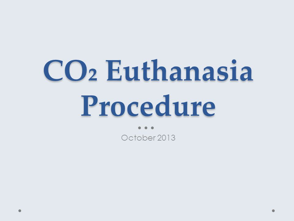 CO₂ Euthanasia Procedure October 2013