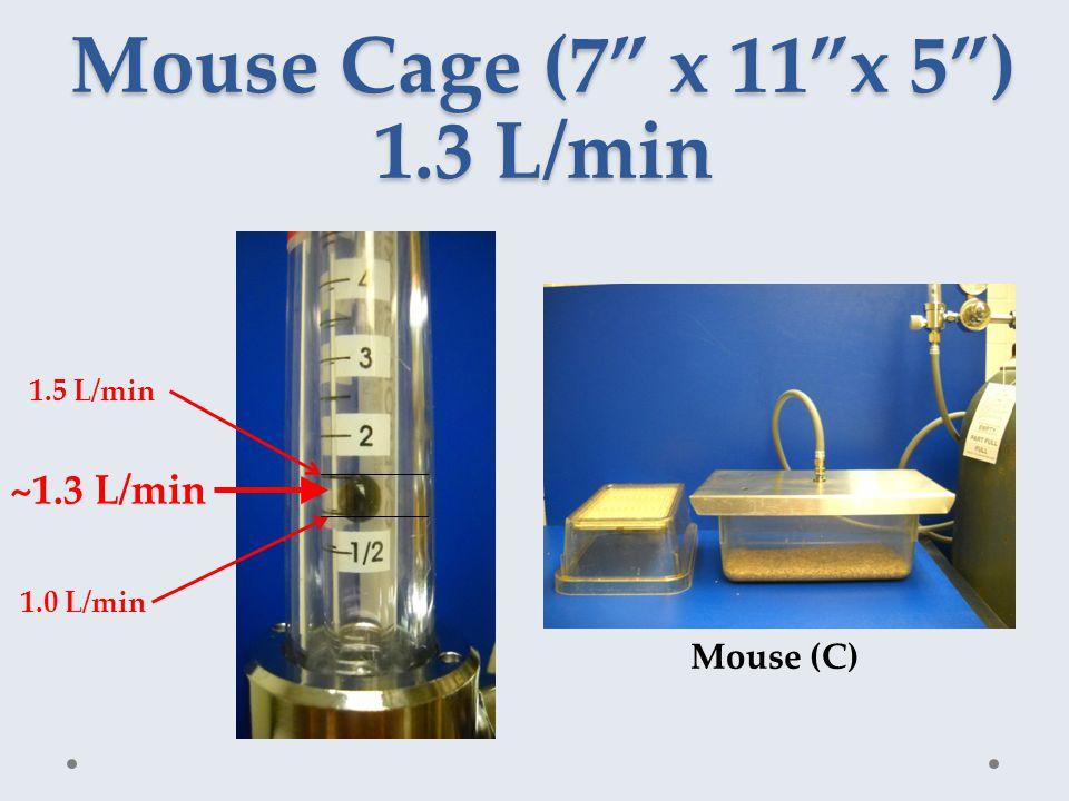 Mouse Cage (7 x 11 x 5 ) 1.3 L/min ~1.3 L/min 1.5 L/min 1.0 L/min Mouse (C)