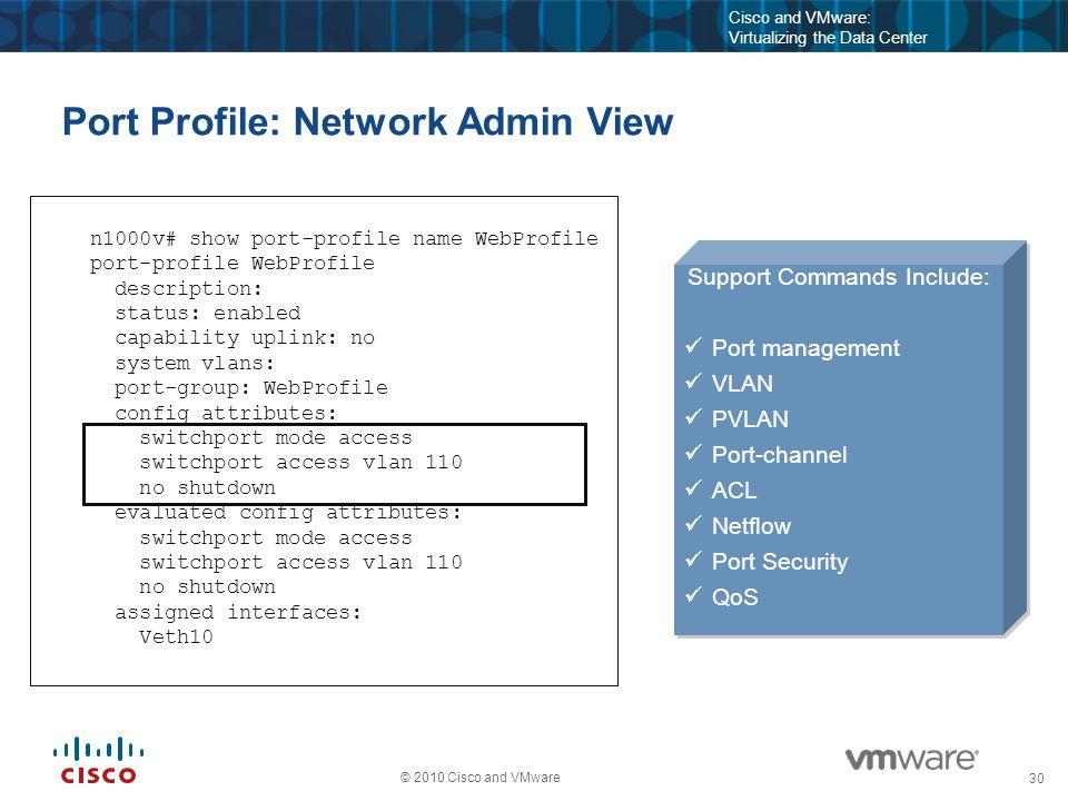 31 © 2010 Cisco and VMware Cisco and VMware: Virtualizing the Data Center Port Profile: Server Admin View