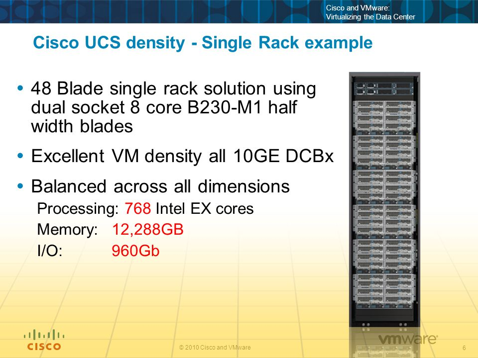 6 © 2010 Cisco and VMware Cisco and VMware: Virtualizing the Data Center Cisco UCS density - Single Rack example  48 Blade single rack solution using dual socket 8 core B230-M1 half width blades  Excellent VM density all 10GE DCBx  Balanced across all dimensions Processing: 768 Intel EX cores Memory: 12,288GB I/O: 960Gb