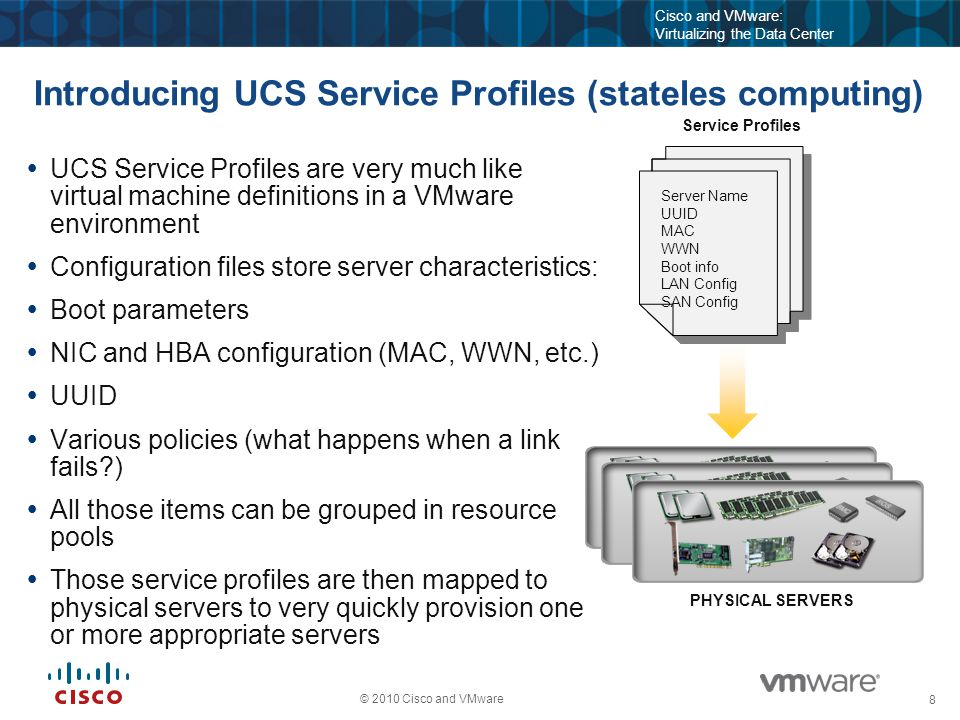 8 © 2010 Cisco and VMware Cisco and VMware: Virtualizing the Data Center Introducing UCS Service Profiles (stateles computing)  UCS Service Profiles are very much like virtual machine definitions in a VMware environment  Configuration files store server characteristics:  Boot parameters  NIC and HBA configuration (MAC, WWN, etc.)  UUID  Various policies (what happens when a link fails?)  All those items can be grouped in resource pools  Those service profiles are then mapped to physical servers to very quickly provision one or more appropriate servers PHYSICAL SERVERS Service Profiles Server Name UUID MAC WWN Boot info LAN Config SAN Config Server Name UUID MAC WWN Boot info LAN Config SAN Config