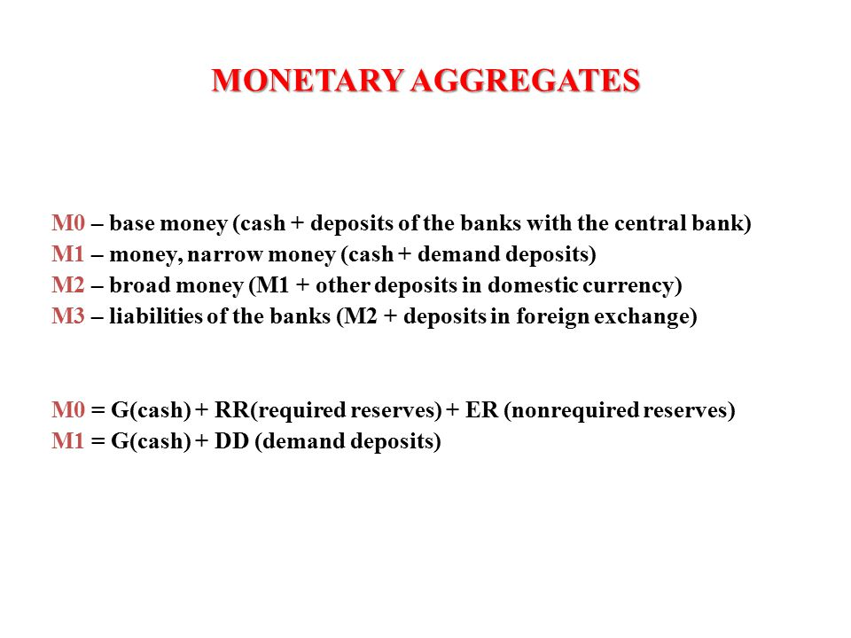 MONETARY AGGREGATES M0 – base money (cash + deposits of the banks with the central bank) M1 – money, narrow money (cash + demand deposits) M2 – broad money (M1 + other deposits in domestic currency) M3 – liabilities of the banks (M2 + deposits in foreign exchange) M0 = G(cash) + RR(required reserves) + ER (nonrequired reserves) M1 = G(cash) + DD (demand deposits)
