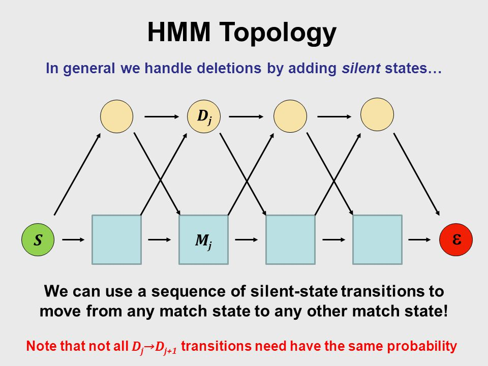 HMM Topology In general we handle deletions by adding silent states… S  We can use a sequence of silent-state transitions to move from any match state to any other match state.