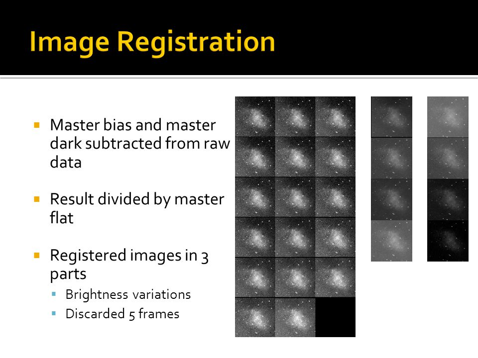  Master bias and master dark subtracted from raw data  Result divided by master flat  Registered images in 3 parts  Brightness variations  Discarded 5 frames