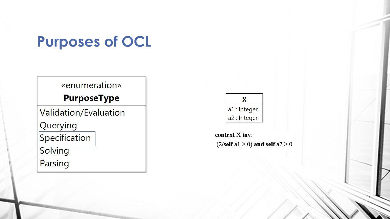 Purposes of OCL