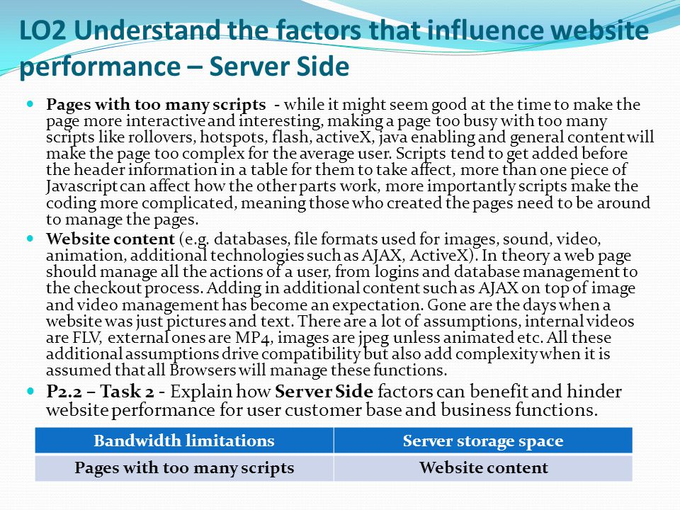 LO2 Understand the factors that influence website performance - Interactive websites for performance and security M1.1 – Task 15 – Using the table below compare and contrast the end client and user needs are for 2 promotional websites.