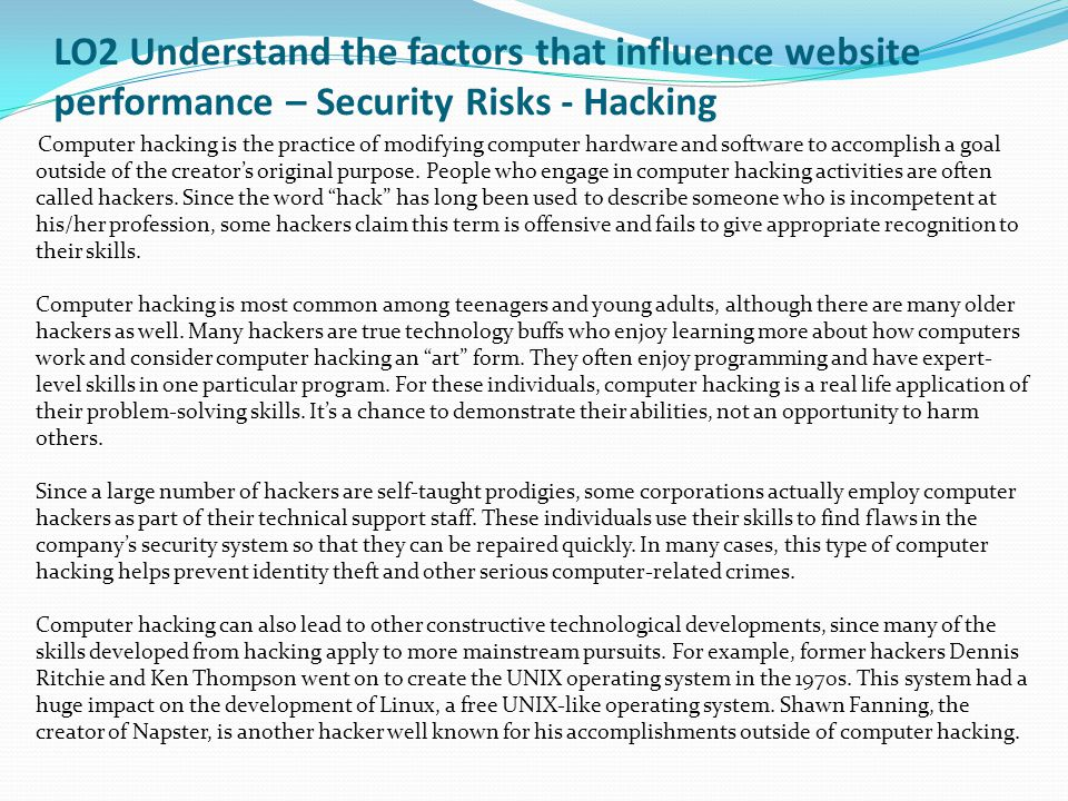 LO2 Understand the factors that influence website performance - Interactive websites for performance and security M1.1 – Task 16 – Using the table below compare and contrast the end client and user needs are for 2 educational websites.