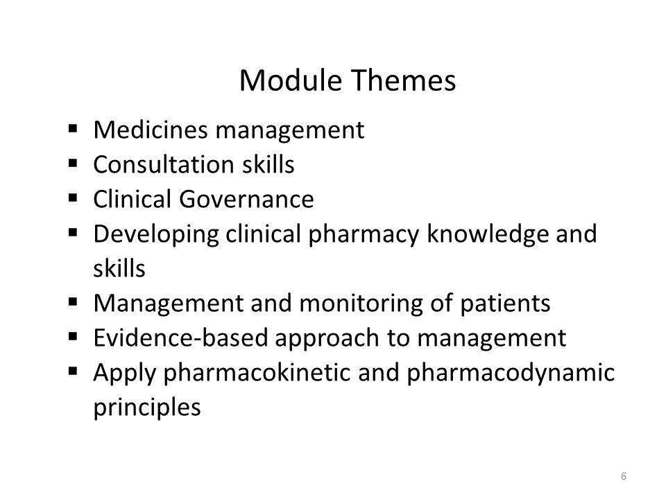 Module Themes  Medicines management  Consultation skills  Clinical Governance  Developing clinical pharmacy knowledge and skills  Management and