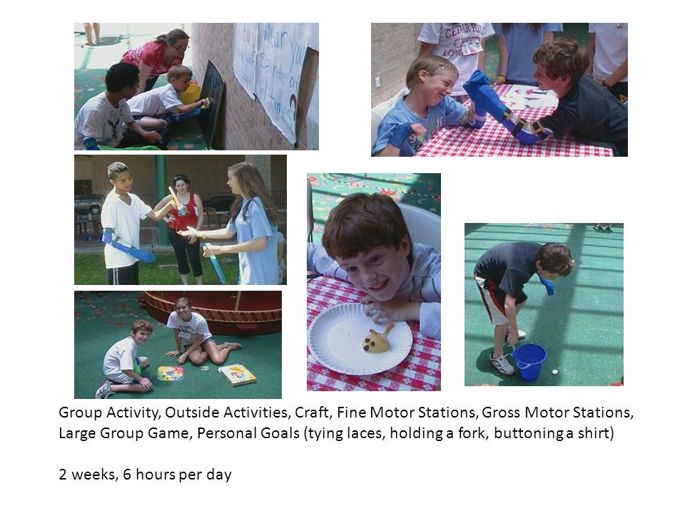 Group Activity, Outside Activities, Craft, Fine Motor Stations, Gross Motor Stations, Large Group Game, Personal Goals (tying laces, holding a fork, b