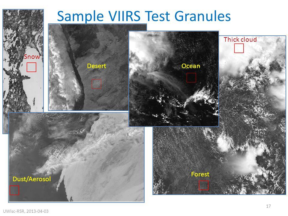 Sample VIIRS Test Granules 17 DesertOcean Forest Dust/Aerosol Snow Thick cloud UWisc-RSR, 2013-04-03