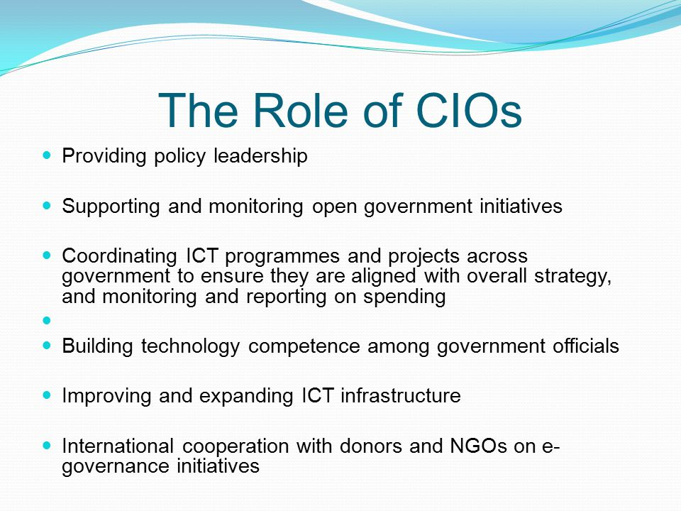 The Role of CIOs Providing policy leadership Supporting and monitoring open government initiatives Coordinating ICT programmes and projects across gov