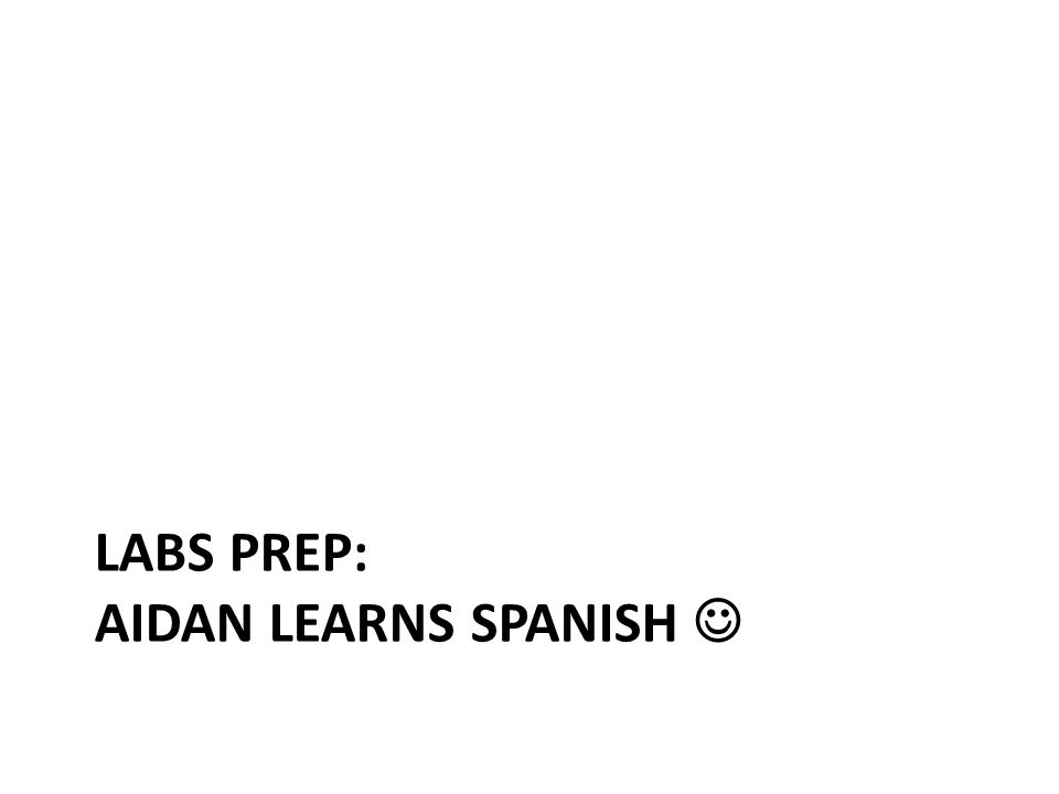LABS PREP: AIDAN LEARNS SPANISH