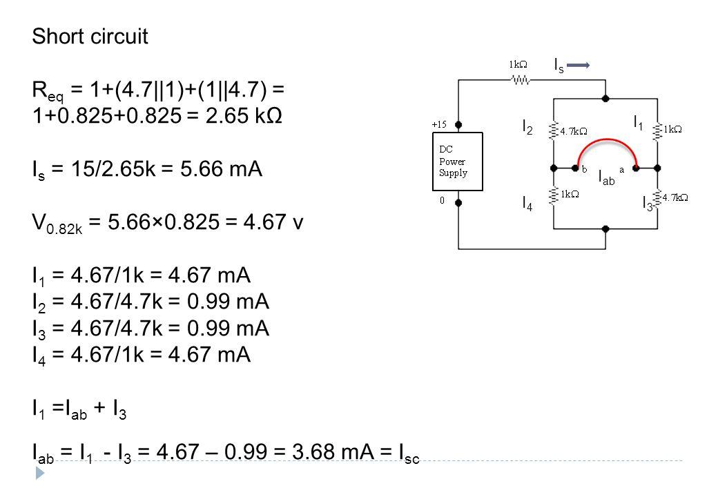 IsIs I1I1 I3I3 I2I2 I4I4 I ab Short circuit R eq = 1+(4.7||1)+(1||4.7) = 1+0.825+0.825 = 2.65 kΩ I s = 15/2.65k = 5.66 mA V 0.82k = 5.66×0.825 = 4.67 v I 1 = 4.67/1k = 4.67 mA I 2 = 4.67/4.7k = 0.99 mA I 3 = 4.67/4.7k = 0.99 mA I 4 = 4.67/1k = 4.67 mA I 1 =I ab + I 3 I ab = I 1 - I 3 = 4.67 – 0.99 = 3.68 mA = I sc