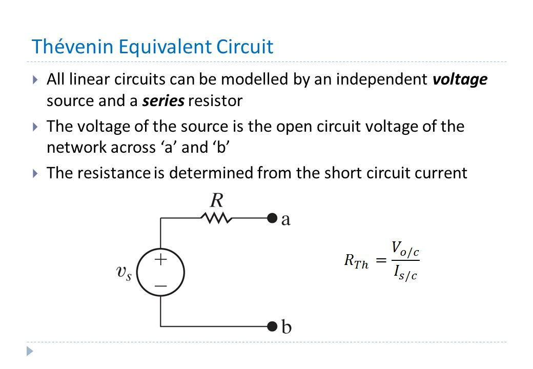 Thévenin Equivalent Circuit  All linear circuits can be modelled by an independent voltage source and a series resistor  The voltage of the source i