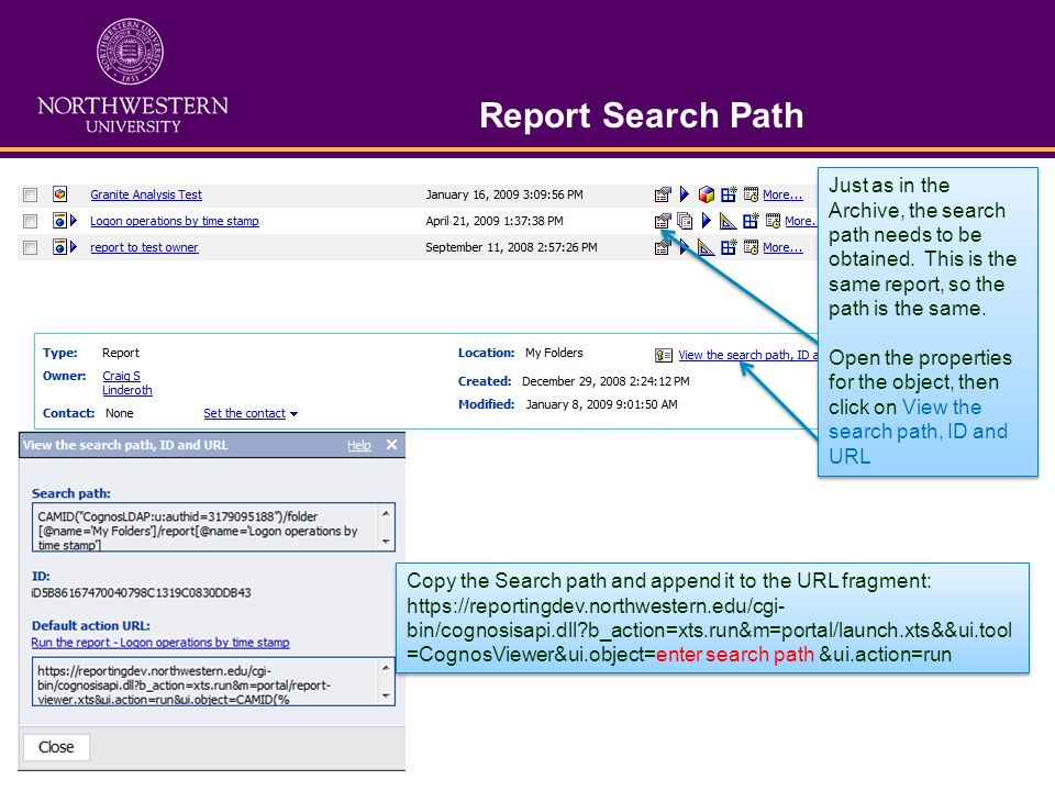 Report Search Path Just as in the Archive, the search path needs to be obtained.