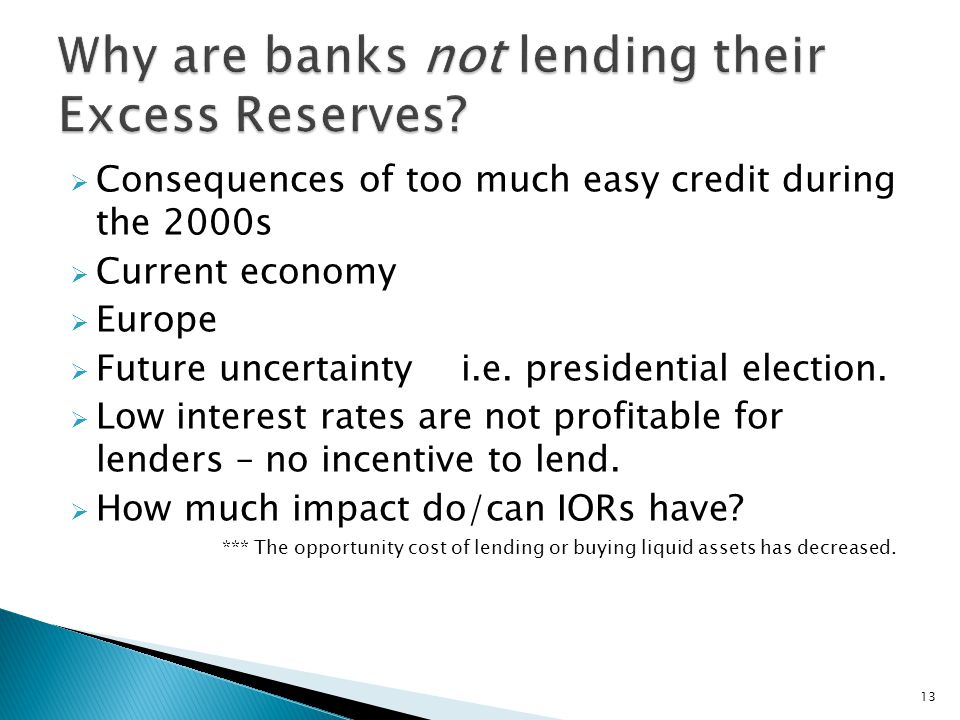  Consequences of too much easy credit during the 2000s  Current economy  Europe  Future uncertainty i.e.