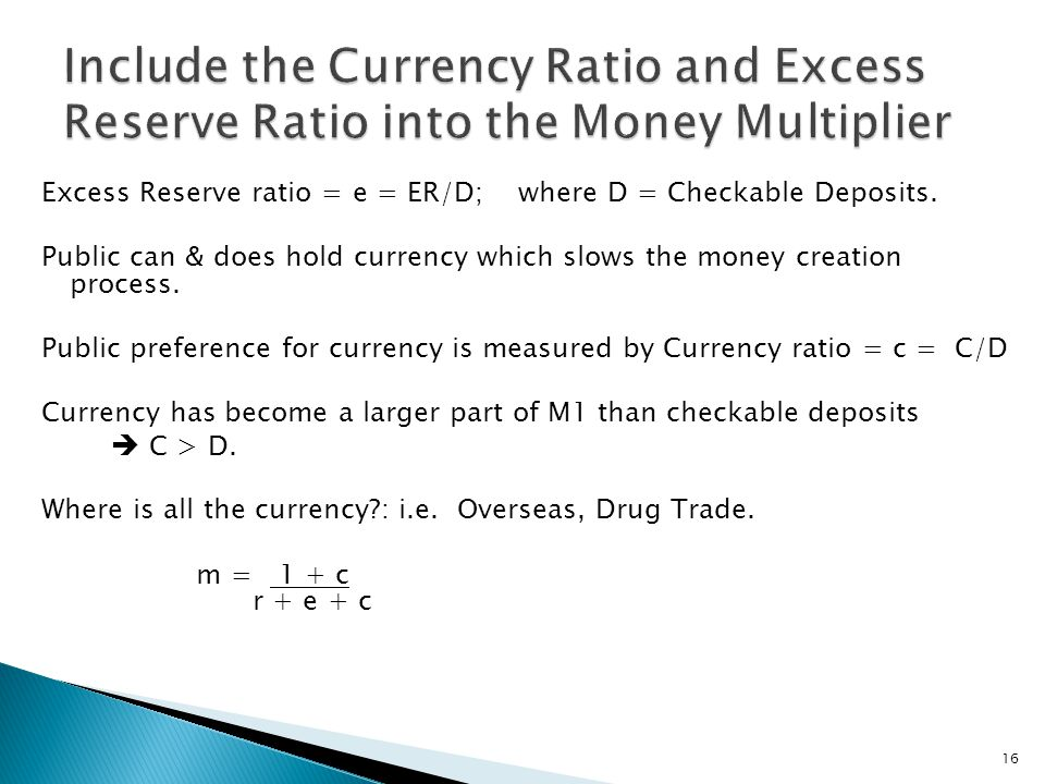 Excess Reserve ratio = e = ER/D; where D = Checkable Deposits.